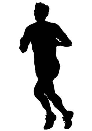 running race: Athletes on running race on white background