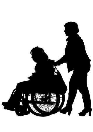 paraplegic: Siluetas de sillas de ruedas y las mujeres en el fondo blanco Vectores
