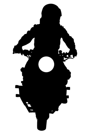 human body silhouette: People and sport bike on white background Illustration
