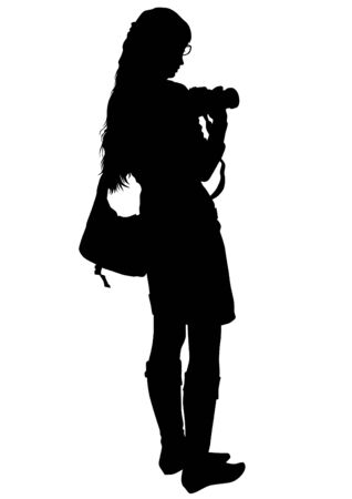 creative shot: Women with a camera on white background