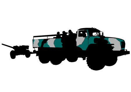 armored: Armored car with gun on white background Illustration