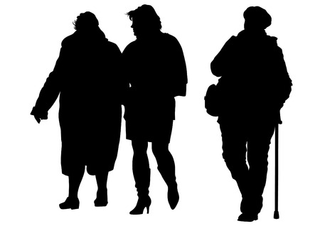 old couple walking: Elderly people with cane one white background