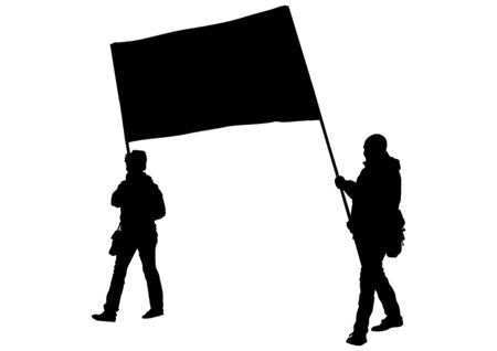 anarchist: People of with large flags on white background Illustration