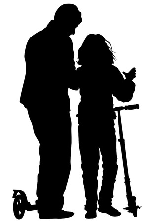niño en patines: Silhouette of boy and girl on roller skates on white background