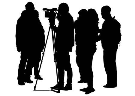 spectators: Television camera operator on white background