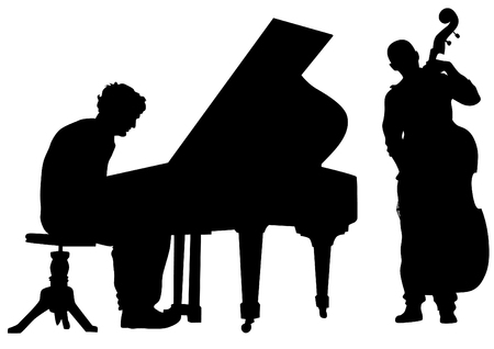 Group and singer of jazz band on white background