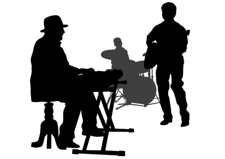 keyboard player: Group and singer of jazz band on white background