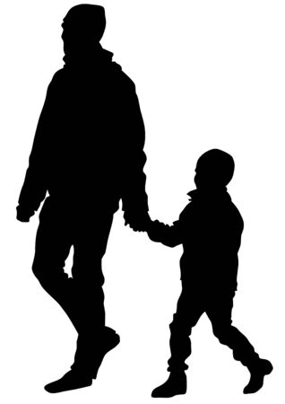 father and child: Father and son out for a walk on white background