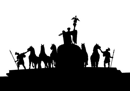monument: Silhouette equestrian monument on a white background