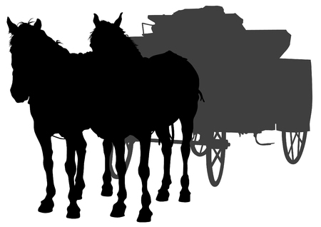 horse carriage: Horse with a wagon on a white background