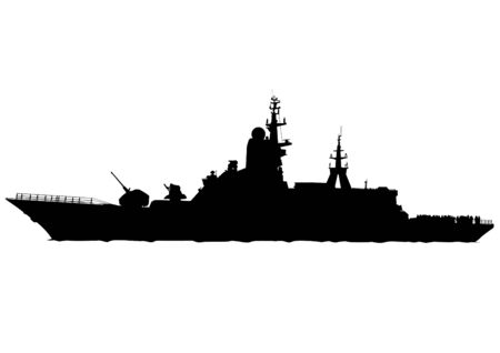 Silhouette of a large warship on a white background 矢量图像