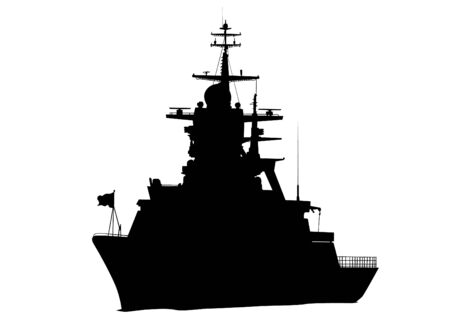 battleship: Silhouette of a large warship on a white background Illustration