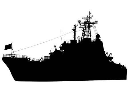 frigate: Silhouette of a large warship on a white background Illustration
