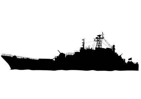 corvette: Silhouette of a large warship on a white background Illustration