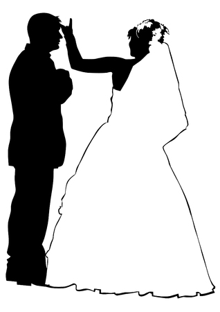 child couple: Couples people of wedding on white background