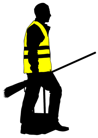 janitor: Janitor in signal vest on white background Illustration