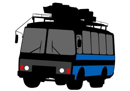 symbol sign: Small bus on white background Illustration