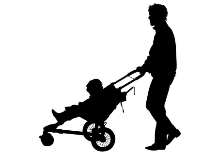 mom and son: Families with child and carriage on white background