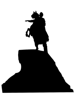 equestrian: Silhouette equestrian monument on a white background