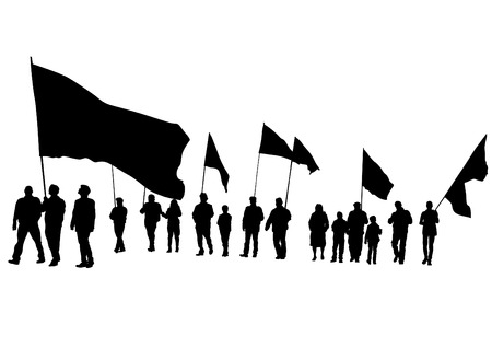 crowds of people: Group of people with flags on white background