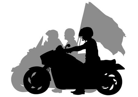 motorized: Man on big bike on white background Illustration