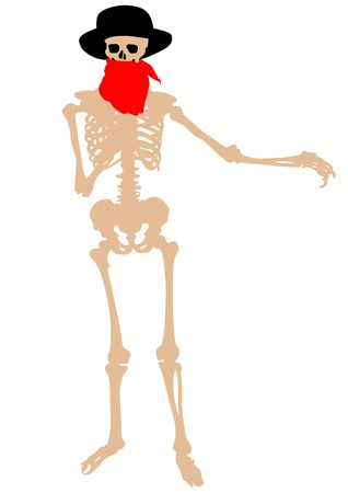 didactic: Skeleton silhouette in hat on white background