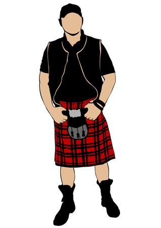 Scottish man in kilt on white background