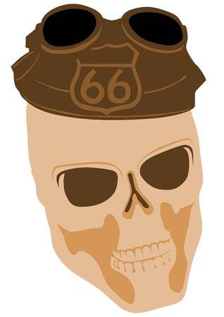 alfa: Skull silhouette in hat on white background Illustration