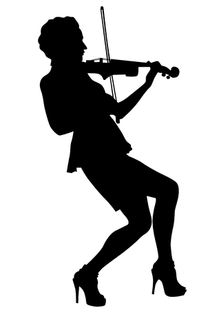 cellos: Girl with violin on a white background