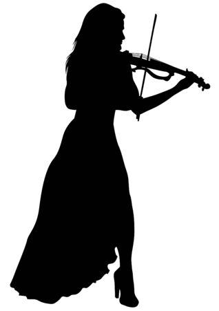 Fille avec violon sur un fond blanc Vecteurs