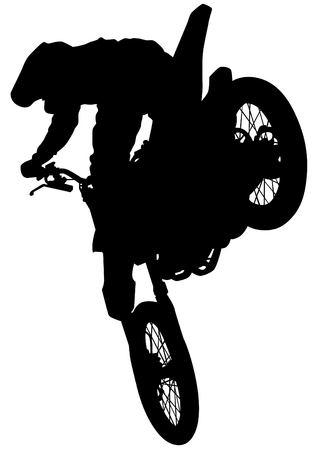bounce: Man on flying bike on white background