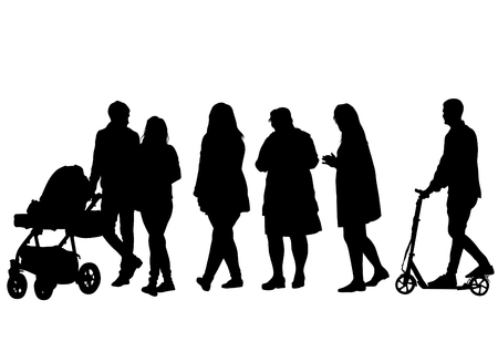 perambulator: Families with child and carriage on white background