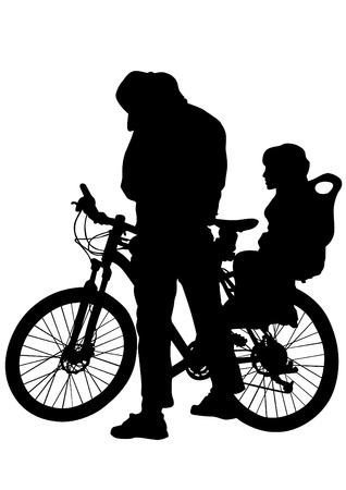 whit: Sport people whit bike on white background Illustration