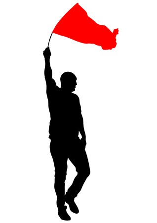 demonstrate: People with flags on white background Illustration