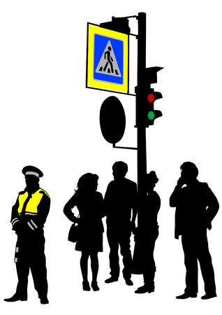 semaforo peatonal: Los semáforos y señales de tráfico sobre un fondo blanco