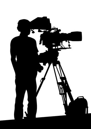 video camera: Journalist and tripod of video camera on white background