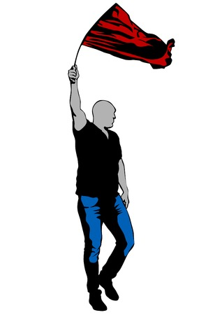 manifest: People with big flag on white background