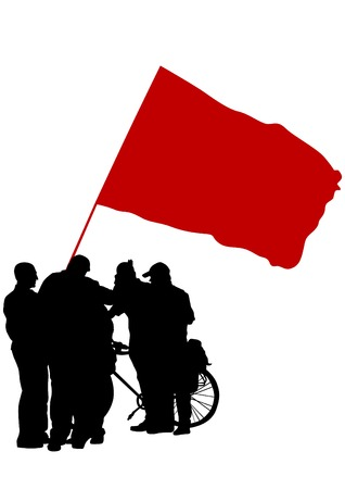 People with flags on white background Illustration