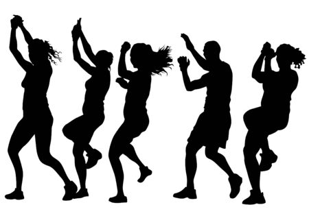 human figure: Young people in fitness classes on white background