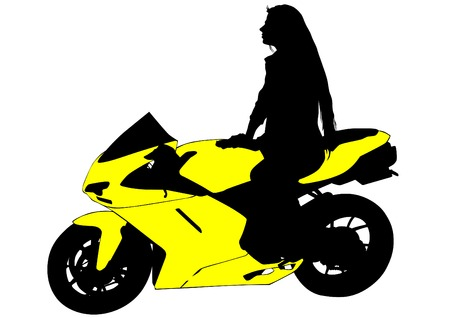leather pants: Silhouettes of motorcycl and baeuty women on white background