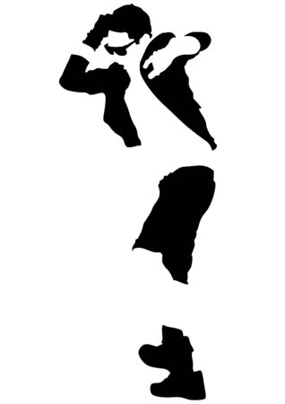businessman shoes: Dancing man in jacket on a white background