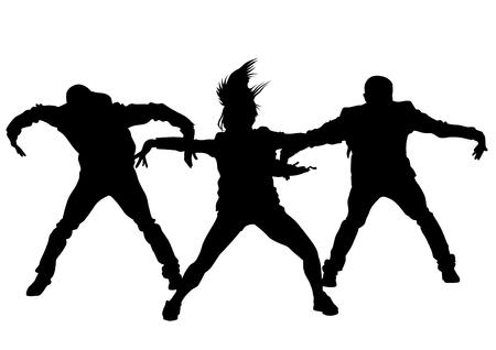 Bailarín del salto de la cadera en el fondo blanco Ilustración de vector