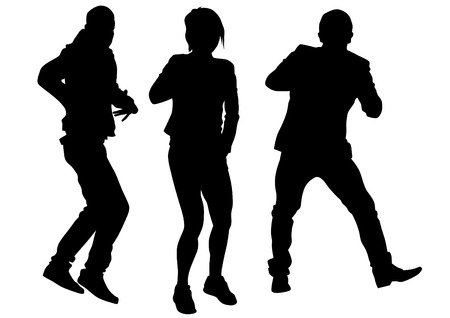 dancers silhouette: Hip hop dancer on white background
