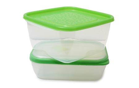 envases plasticos: Envases de plástico sobre un fondo blanco