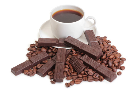 mag: Coffee cup and chocolate on a white background Stock Photo