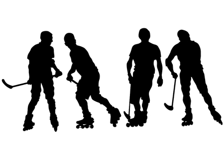 Players in roller hockey on a white background