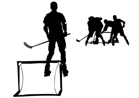 Gracze w hokeju na rolkach na białym tle