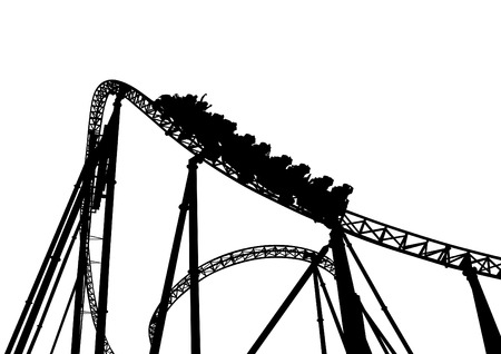 Rollercoaster in the park on a white background
