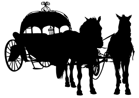 converted: Converted coach with horses on a white background Illustration