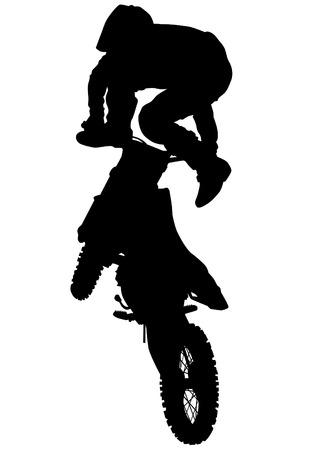 flying man: Man on flying bike on white background